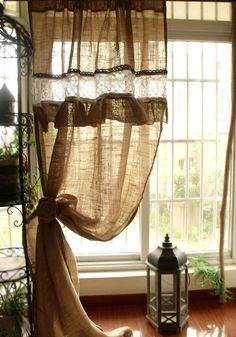 burlap window treatments What a great addition to your shabby, beach,cottage chic,French country theme. This burlap lace curtain of simple and natural will highlight your dinin