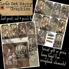 Printable prairie girls in homespun dress with pet goat gift tags. Antique candy store theme with old candy recipe and their BIG sucker. Cute printables at LetsGetHappyGraphics.