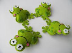 Handmade Felt Frog Brooches