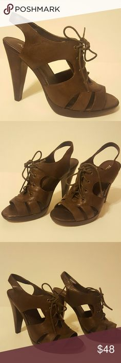 """Lace Up Aldo Leather Heels These heels are gorgeous and super comfortable! They're 4.5"""" in height and have been gently lived in but are in excellent condition. They are have a beautiful lace detail and rich brown color.   They are are definitely that go to shoe that provides both style and comfort. Aldo Shoes Platforms"""