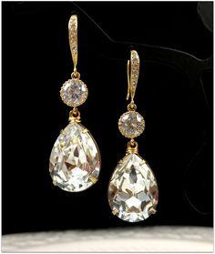 Braut Ohrringe Gelbgold Swarovski Kristall von BeYourselfJewelry