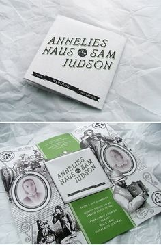 Vintage Inspired Wedding Invitation by designer Sam Judson of New Zealand.