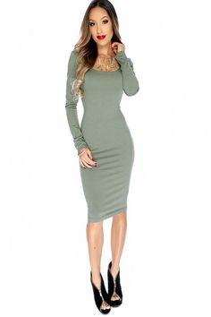 d6c490e773 Sexy Olive Mid Sleeve Calve Length Bodycon Dress