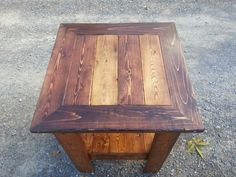 My version of a pallet wood side table. I varied the stain on the top.