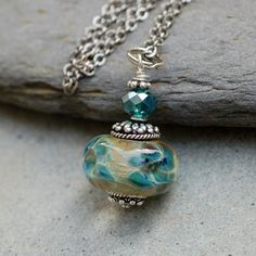 Glass Bead Necklace Boro Lampwork Encased Flowers Focal Large Handmade Pendant Jewelry - Blue Green