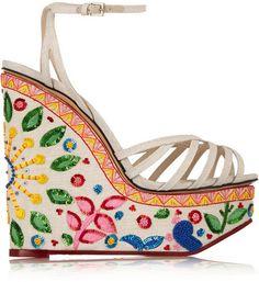 Charlotte Olympia Celebration Meredith embellished linen sandals