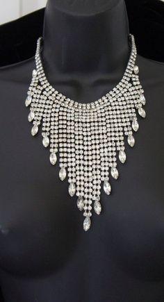 Vintage 40s Huge Rhinestone Bib Choker Necklace by vampofvintage, $349.99