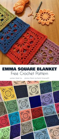 Emma Blanket Free Crochet Patterns,Emma Square Blanket Make crochet quilts yourself Who does not love a blanket where you are able to hide and warm up in cold temperatures? Crochet Motifs, Crochet Blocks, Granny Square Crochet Pattern, Crochet Afghans, Crochet Squares, Crochet Blanket Patterns, Knit Crochet, Knitting Patterns, Crochet Square Blanket