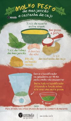 Infográfico receita de Molho ao Pesto de Manjericão com castanha de caju, um molho muito fácil e rápido de fazer. Snack Recipes, Cooking Recipes, Food Illustrations, Easy Cooking, Going Vegan, Diy Food, No Cook Meals, Food Hacks, Love Food