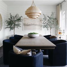 glam dining room design, modern dining room design with rattan chandelier and blue velvet dining room chairs, neutral dining room with shiplap, navy velvet chairs Dining Room Blue, Luxury Dining Room, Dining Room Design, Dining Rooms, Dinning Set, Woven Dining Chairs, Dining Tables, Dining Area, E Design