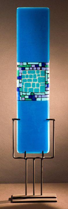 Looking Into - Blue by Meg Branzetti, Vicky Kokolski: Art Glass Sculpture available at www.artfulhome.com