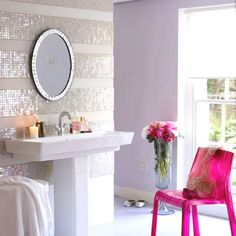 striped bathroom wall with alternating paint and small sparkly tiles (This would be pretty for a powder room.)