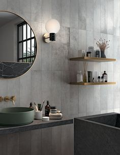 Make Your Bathroom Feel Like a Spa Introduce shades of Grey Choose a Chic Design Put some Small Shelves Choose a Mat Bathtub Light a Scented Candle Add Some Art Bathtub Lighting, Small Shelves, Bathroom Spa, Porcelain Tile, Home Collections, Interior Inspiration, House Design, Interior Design, Furniture