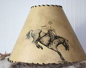 Western Rodeo Cowboy Bronc Rider Lamp Shade by Plus Z Ranch. $85.00, via Etsy.
