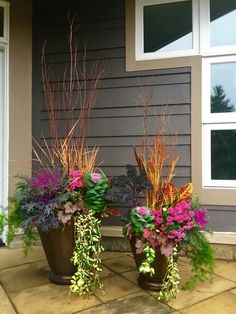 22 Gorgeous Flower Pots Ideas For Fall Garden - Dlingoo Fall Planters, Outdoor Planters, Flower Planters, Container Flowers, Container Plants, Container Gardening, Vegetable Gardening, Fall Flower Pots, Fall Flowers