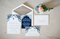 Custom lace wedding invites. Navy and ivory.  Carley Rehberg Photography
