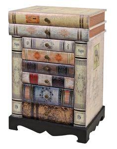 Comó in stile Vintage Epoca con sagoma a libri impilati. Con 6 cassetti ed un vano portaoggetti. EURO 99,90