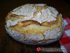 """Αυτόζυμο Καρβέλι Xωριάτικο - (Greek) -Aftozymo Loaf Xoriatiko - Description The famous """"eftazymo"""" - folk paretymologia the word """"aftozymo"""". Yes, only this see the loaf has ut 'sevens, or chickpeas! It has plenty of water, and legions of yeast. Cookie Dough Pie, Greek Bread, Pretzel Bun, Artisan Bread, Greek Recipes, Chickpeas, The Best, Bakery, Cooking Recipes"""