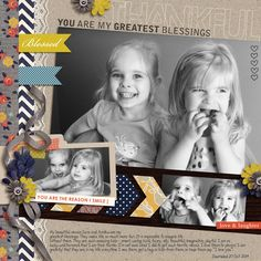 Thankful digital scrapbook page by yzerbear19 featuring Gather and MPM Add-Ons by Sahlin Studio