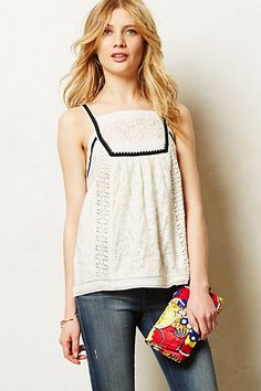 Framed Lace Tank #anthropologie