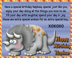 Dinosaur wishes for a special nephew. Free online Happy Birthday To A Special Nephew ecards on Birthday Happy Birthday Penguin, Happy Birthday Little Brother, Happy Birthday Nephew, Birthday Hug, Cute Happy Birthday, Birthday Wishes Funny, Birthday Songs, Special Birthday, Birthday Sparklers
