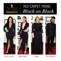 """2016 Grammys Red Carpet Trend: Black on Black"" by polyvore-editorial ❤ liked on Polyvore featuring women's clothing, women, female, woman, misses, juniors, RedCarpet and Grammys"