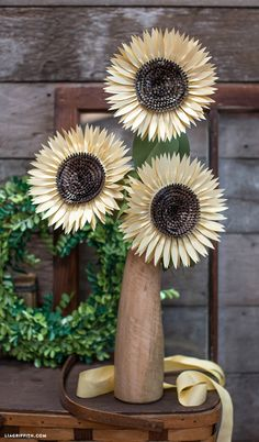 DIY Metallic Paper Sunflowers Tutorial from Lia Griffith