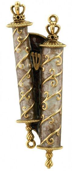 Scroll Mezuzah- Brown - Mamilla Jewish Art ღ✟ Jewish History, Jewish Art, Religious Art, Cultura Judaica, Arte Judaica, Jewish Quotes, Simchat Torah, Thinking Day, Menorah