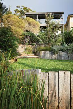 Survive and Thrive Retaining Wall Design, Landscaping Retaining Walls, Backyard Landscaping, Garden Steps, Garden Fencing, Australian Native Garden, Riverside House, Coastal Gardens, Recycled Garden