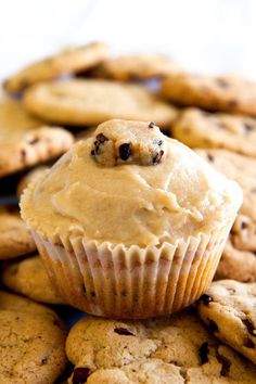 These cupcakes have a cookie dough filling and are then topped with a cookie dough frosting. Yes, you read that right: It's a cookie and cupcake combined.
