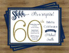 Surprise 60th Birthday Invitation Surprise by SophisticatedSwan