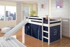 Create your daughter's dream room with our twin loft bed with slide! The under-bed area is tented to create a fun play space and a great area to keep toys. The slide makes getting out of bed in the mo