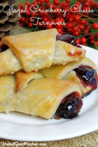 Glazed Cranberry-Cheese Turnovers by WickedGoodKitchen.com ~ Easy cream cheese pastry turnovers made with cheese & jam filling! #glutenfree