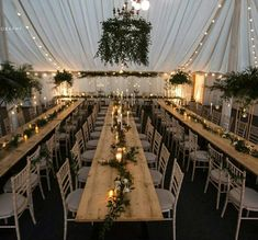 The beautiful Marquee at Middleton Lodge all set for the evening with our Botanical Wedding styling. Foliage chandelier, brass hexagonal Lanterns, Candelabra, hanging tea light globes and lots of greenery & foliage. Wedding Reception Ideas, Marquee Wedding Receptions, Marquee Events, Outdoor Wedding Inspiration, Barn Wedding Decorations, Prom Decor, Tent Reception, Garden Decorations, Wedding Venues