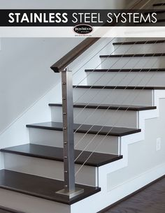 Luxury and Elegant Stairs And Rails Design For Luxurious Home Modern Stairs Design Elegant home Luxurious Luxury Rails stairs Modern Stair Railing, Stair Railing Design, Staircase Railings, Modern Stairs, Cable Stair Railing, Stair Treads, Iron Railings, Staircase Ideas, Banisters