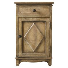 Showcasing 1 drawer and 1 door, this weathered side table brings a touch of country appeal to your living room or library.  Product: ...