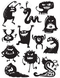 Illustration about Silhouettes of cute doodle monsters-bacteria. Illustration of character, animal, halloween - 16220891 Halloween Doodle, Halloween Crafts, Halloween Decorations, Doodle Monster, Funny Monsters, Cartoon Monsters, Halloween Illustration, 3d Zeichenstift, Image Monster