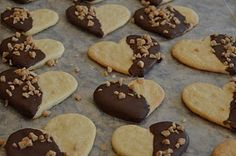 sugar cookies dipped in chocolate and sprinkled with heath bits ... yum!