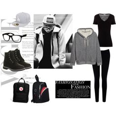 EXO Chanyeol Airport Fashion Inspired Outfit by nanrelladu on Polyvore featuring polyvore fashion style James Perse H&M Warehouse Timberland Morn Creations FjÄllrÄven Jeepers Peepers