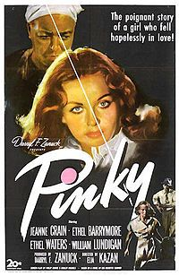 One sheet movie poster advertises the drama 'Pinky' directed by Elia Kazan and starring Ethel Waters Jeanne Crain Nina Mae McKinney Frederick O'Neal. Old Movies, Vintage Movies, Great Movies, 1940s Movies, Vintage Tv, Lite Brite, Old Movie Posters, Cinema Posters, Concert Posters