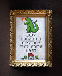 May Godzilla Destroy This Home Last Subversive Cross Stitch Pattern Instant PDF Download Only (4.25 USD) by JackTheStitcher