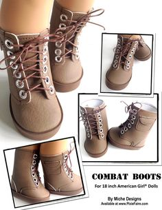 "Combat Boots 18"" Doll Shoes"