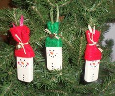 Domino Snowmen Christmas Ornaments  3 Snowmen by CarriesCraftStore