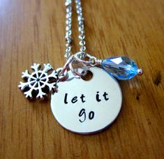 "Disney's ""Frozen"" Inspired Elsa ""Let It Go"" Necklace, Charm Pendant. Silver colored, blue Swarovski crystal, snowflake, for women or girls. on Etsy, $20.00"