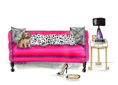 New blog! Good morning from my couch and Engagement party deets! http://blog.emilybrickel.com/good-morning-from-my-couch-engagement-party-deets/#sthash.PLqguDbf.dpbs   fashion illustration by Emily Brickel , vogue, chanel, shoes, fashion, pink, home decor, pillows, dog