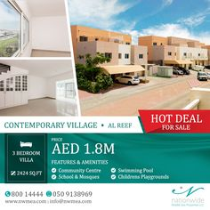 3 bedrooms villa in AL Reef available at Nationwide Middle East Properties.  Own this villa in Al Reef at 1.8 M AED Only! Size: 2424 SQFT Number Of Bedrooms: 3 Number Of Bathrooms: 4 Covered Parking: 2 Don't hesitate and hurry!  Call us for more details and viewing: 050 913 8969 | 80014444    #AlReef #AbuDhabi #UAE #Villa #RealEstate #AbuDhabiRealEstate #AbuDhabiProperties #NationwideProperties #Investment #PropertiesSolution #PropertyForSale #AbuDhabilife #LuxuryIsUs #InAbuDhabi