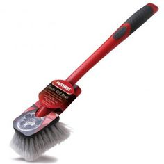 Mothers Wheel & Wheel Well Long Handled Brush Non-slip comfort grip Protective rubberized bumper Soft, gentle bristles reach tight spots Ideal for cleaning wheels, fenders, and bumpers Extra long handle Wheel Tattoo, Tire Shine, Best Brushes, High Performance Cars, Wash Brush, Car Wheels, Car Wash, Car Detailing, Veils