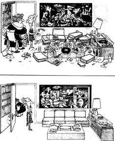 "Picasso's ""Guernica"" before & after the tidying up. [ by Argentinian cartoonist Quino ] Painting & Drawing, Rock Kunst, Picasso Guernica, Pablo Picasso, Spanish Humor, Ap Spanish, Bd Comics, Music Humor, Caricatures"