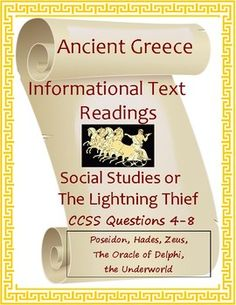 Ancient Greece Informational Readings with Questions CCSS Middle School Writing, Middle School English, Middle School Teachers, Science Resources, Teacher Resources, Teaching Tools, Oracle Of Delphi, World History, Art History