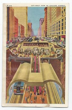 Vintage postcard of cutaway view of Chicago CTA subway